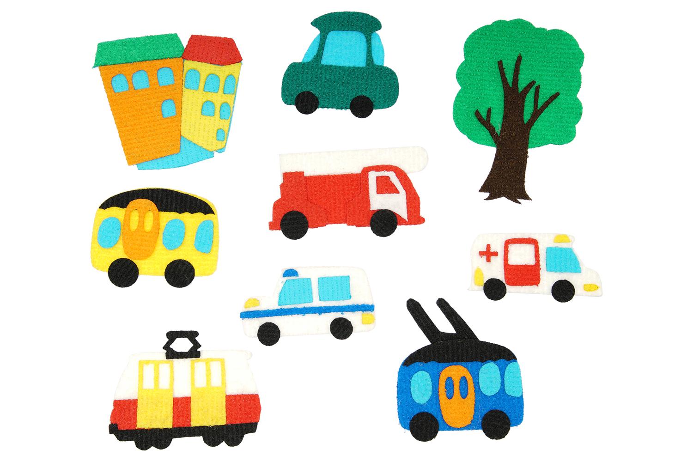 Улица с игровым полем мини - Состав: Поле 20*30см, домик, автомобиль, троллейбус, скорая помощь, автобус, трамвай 8*10см, пожарная машина, полиция, дерево.