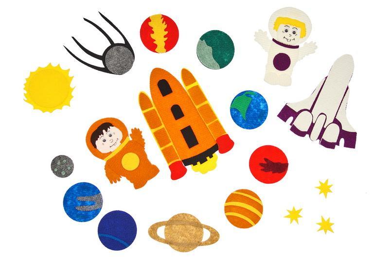 Космос  с игровым полем - Космонавт-2 шт. (мальчик и девочка), космический корабль-2 шт., спутник, звезда-3 шт.,планеты: Солнце, Земля, Нептун, Марс,Юпитер, Луна, Венера, Меркурий, Сатурн от 2*2см до 17*20см, игровое поле 25*35см. Из деталей конструктора можно собирать различных