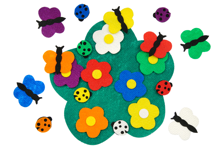 Полянка с цветами - Полянка 30*30см, цветочки-7 шт., божьи коровки-7 шт.К каждому цветочку есть своя бабочка-7шт. подходящая по цвету от 3*3см до 7*8см.
