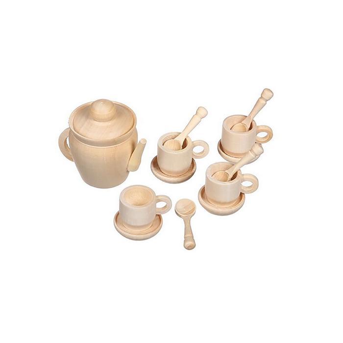 Чайный сервиз. набор (4 персоны) ДИ1145 - В наборе:  чайник с крышкой (4.5 см.), 4 чашки, 4 блюдца, 4 ложки.  Материал: дерево.