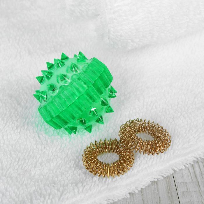 Массажер пластик универс Шарик с 2 кольцами (су джок) - Размер упаковки  3,5 см × 3,5 см × 3,5 см