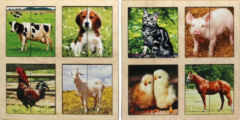 КАРТИНКИ-ПОЛОВИНКИ ДОМАШНИЕ ЖИВОТНЫЕ (2 ПЛАНШЕТА) - Размер каждого планшета: 20,5 см*20,5 см Размер картинки: 8,5 см*8,5 см В наборе 8 картинок