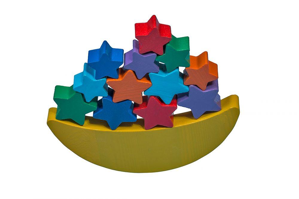 Луна-равновеска - В набор входят: поднос, луна, 6 больших звезд, 6 маленьких звезд, 6 карточек для накладывания.