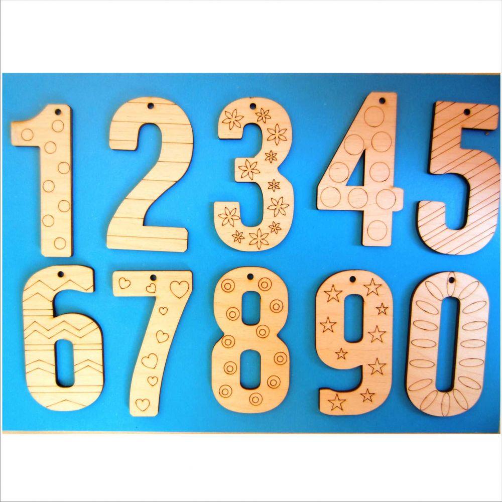 Подвески-раскраски Цифры - Высота подвесок 8 см