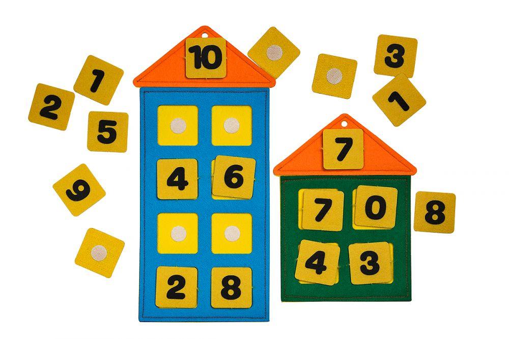 Числовые домики из фетра - Размер домиков: 16см*33см и 21см*16см Материал: фетр