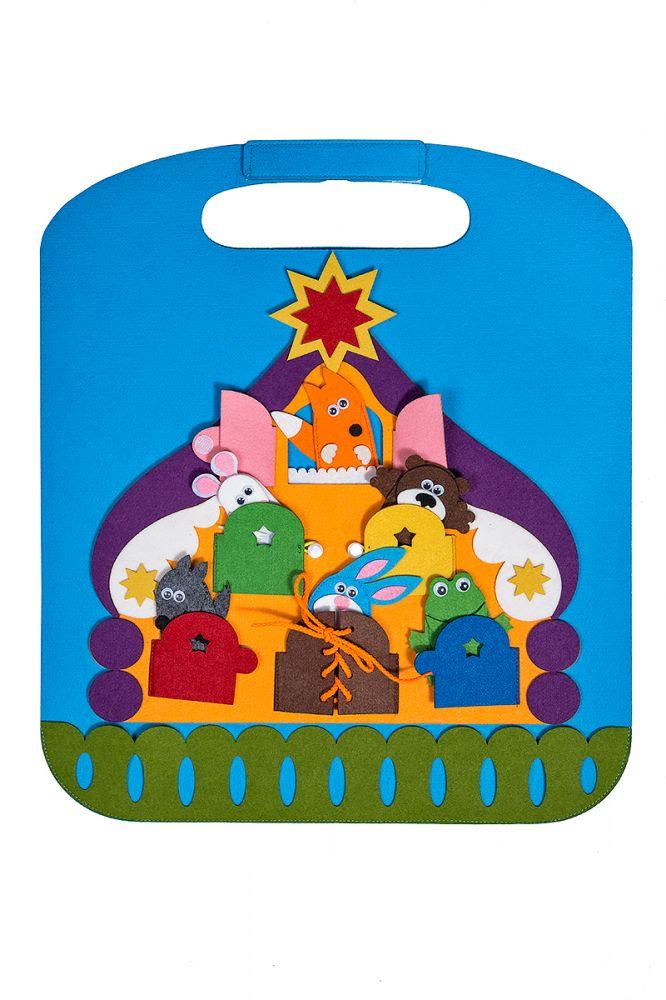 Коврик-игралка в дорогу Теремок - Размер коврика: 42 см*48 см  Игра для развития логического мышления, изучения геометрических фигур и четырех основных цветов.