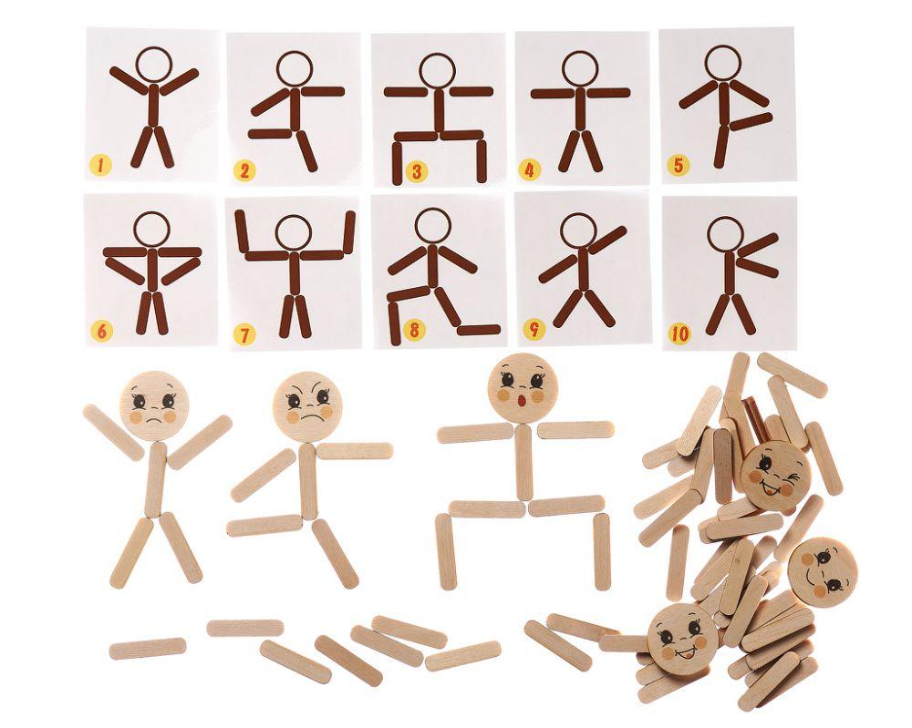 Мозаика из палочек Человечки - Игра для развития внимания, мышления, фантазии, а также для обучения работе по образцу