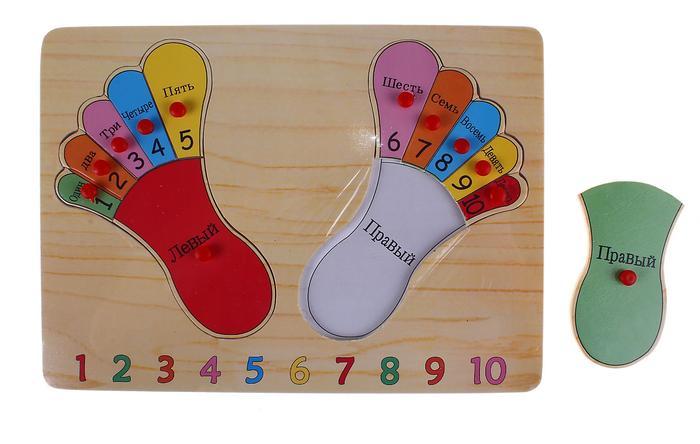 Рамка-вкладыш Счет на пальцах - Материал: дерево   Размер  0,8 см × 30 см × 22 см