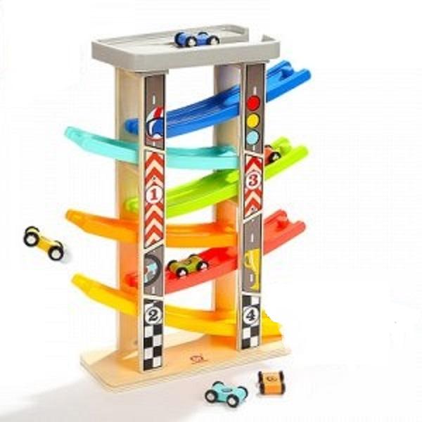 Большая быстрая горка - размер:30х10х35см; 4 машинки; дерево+пластик