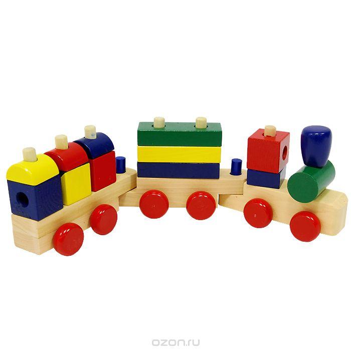 Паровозик - размер:40х12х7см,паровоз+2 вагончика;дерево