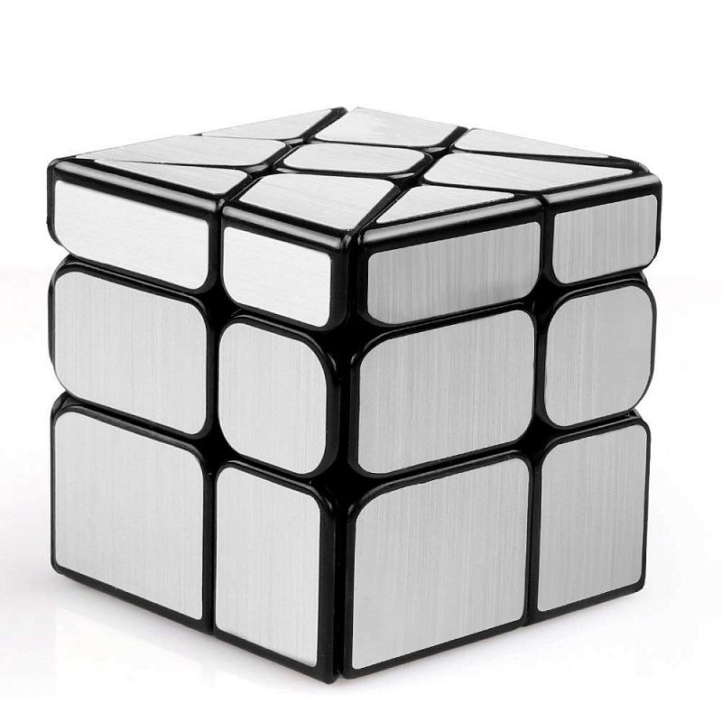 Головоломка FANXIN 581-5.7H Кубик Колесо Серебро/Золото - Хорошая модель, не очень сложная по сравнению с другими зеркальными кубиками. Рекомендуем тем, кто уверенно собирает классический 3×3, как первый зеркальный кубик!  WindMill или WindMirror — куб, похожий на ветряную мельницу или на колесо. В основе механи