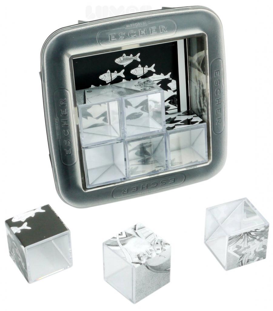 Головоломка RECENT TOYS RT61 Эшер - знаменитых изображений разбиты на 9 частей, так что собрать каждое из них можно, только правильно сопоставив 9 зеркальных кубика. Изображение появится в виде отражений, образуемых каждым из кубиков.