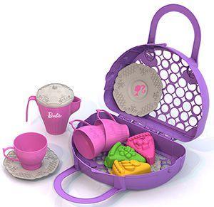 Нордпласт Набор посудки и пирожных БАРБИ - Комплектация: 3 формочки «Пирожные», 3 блюдца, 3 чашки, кофейник, сумка — корзинка