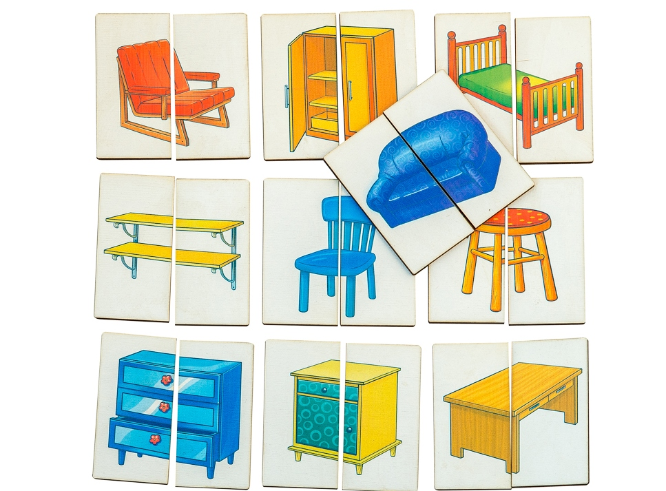 Картинки-половинки Мебель - Первое знакомство с пазлами. Игра предназначена для детей от 1 года.