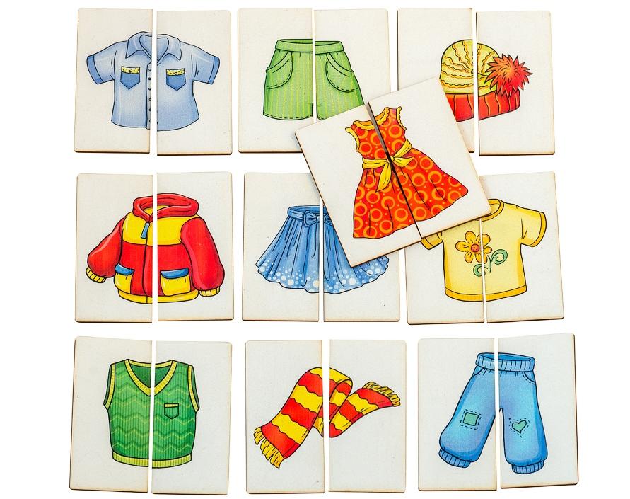 Картинки-половинки Одежда - Первое знакомство с пазлами. Игра предназначена для детей от 1 года.