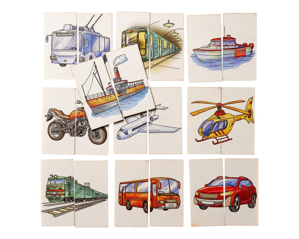 Картинки-половинки Транспорт - Первое знакомство с пазлами. Игра предназначена для детей от 1 года.