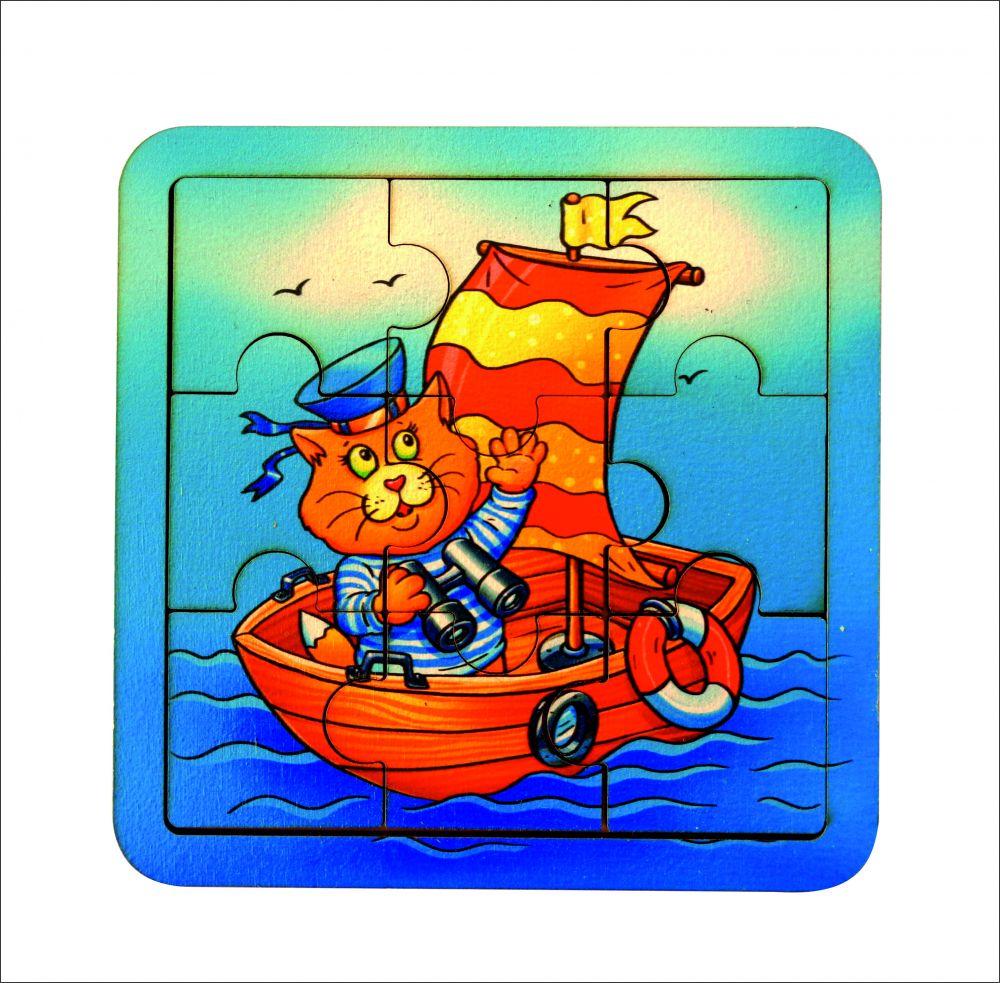 Пазл Кораблик - Размер пазла: 14 см*14 см Материал: фанера