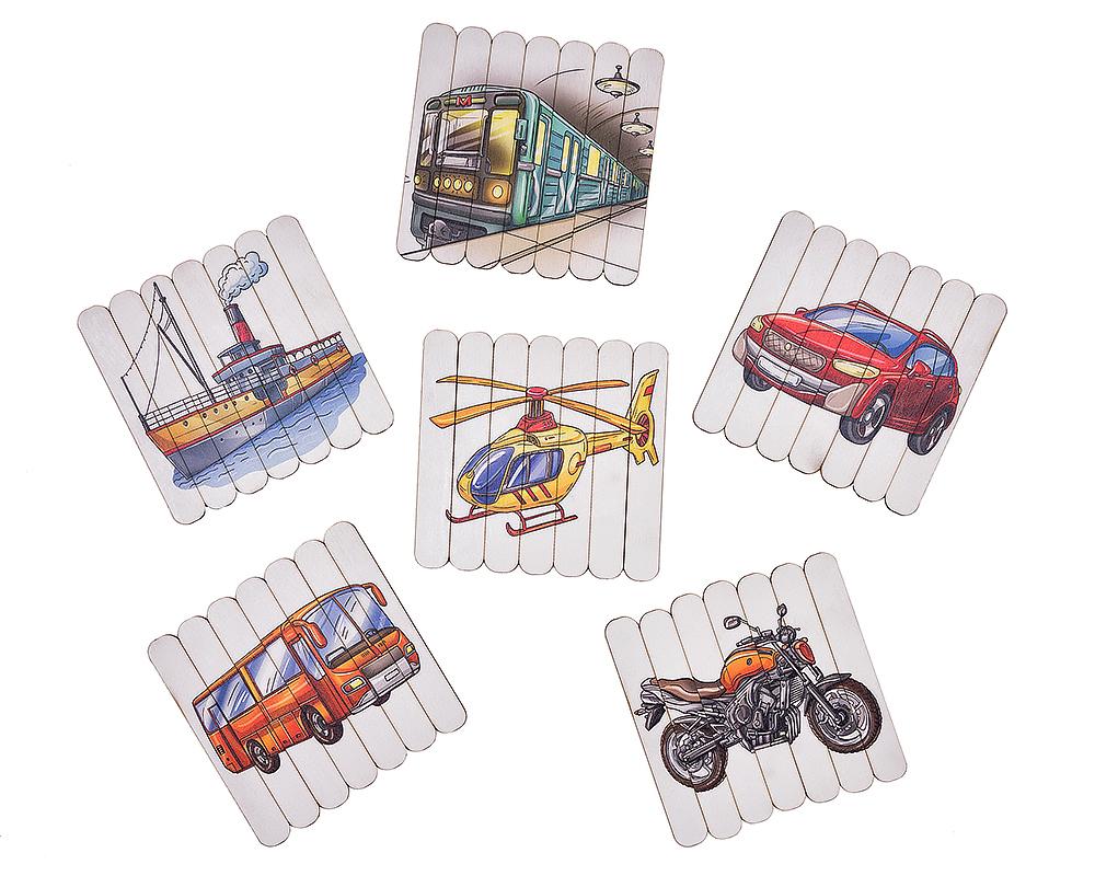 Пазлы из палочек Транспорт - Материал: фанера, фетр Размер пазлов: 13 см*13,5 см В наборе: 6 пазлов