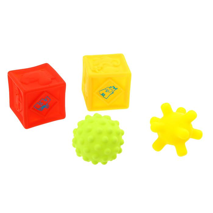 Игрушки для ванны «Кубики и мячики 2», 4 шт - Материал  ПВХ