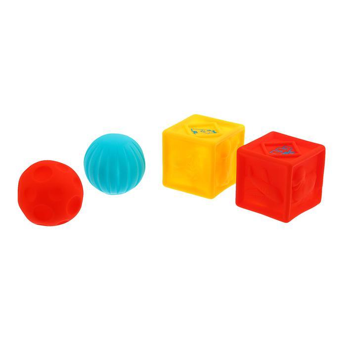 Игрушки для ванны «Кубики и мячики 1», 4 шт - Материал  ПВХ