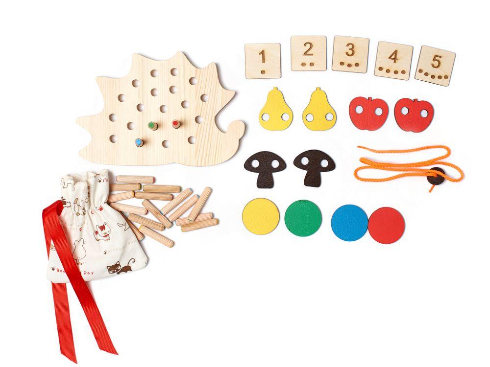 Развивающая игра Добрый ежик - Игра для развития внимания, памяти, мелкой моторики,  умения подчинять свои действия простым правилам