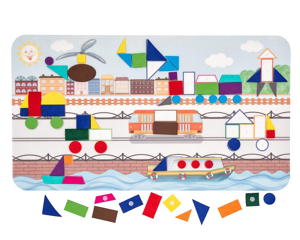 Коврик-мозаика Большой город - Материал: фетр Размер ковра 48 см*84 см Состав набора: основа из фетра 1шт. геометрические фигуры на липучках  61 шт.
