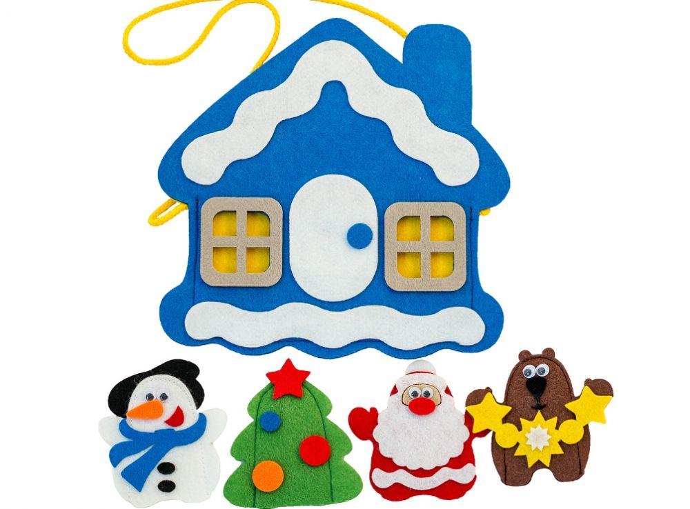 Сумка-игралка Новый год - Материал: фетр Размер сумки:  22 см*21 см Высота куклы: 11 см (1шт)