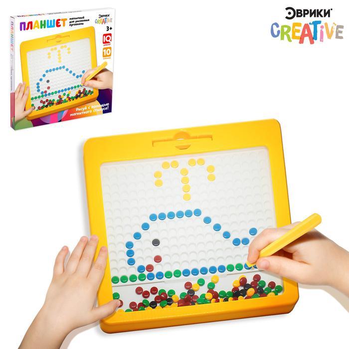 ЭврикиПланшет-мозаика магнитный для рисования «Пуговки», 266 яче - Игра «Магнитное рисование» поможет обучить ребёнка письму в дошкольном возрасте. В комплект входит планшет с разноцветными пуговками и ручка-магнит.