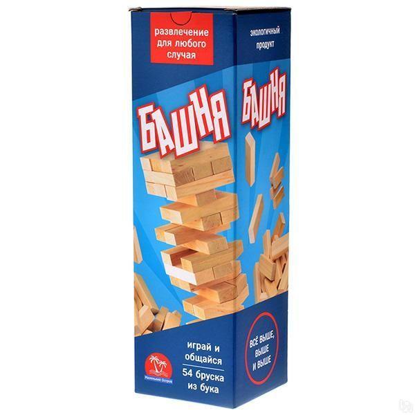 Маленький остров. Башня 54 дет. в картонной коробке (дерево) - Принцип достаточно прост: из ровных деревянных брусков строится башня (каждый новый «этаж» делается с чередованием направления укладки), а затем игроки начинают аккуратно вытаскивать по одному бруску и ставить его на верх башни. Побеждает тот, кто послед