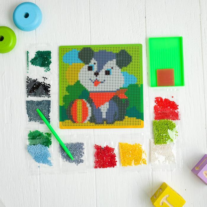 Алмазная мозаика для детей «Собачка», 15 х 15 см. - Создание мозаики поможет ребенку развить мелкую моторику, зрительное восприятие, усидчивость, аккуратность, внимательность и художественный вкус.