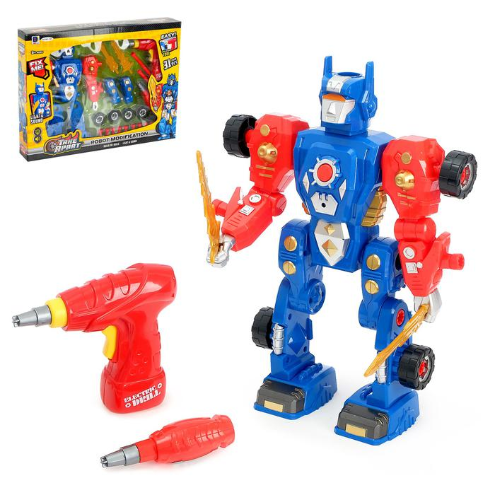 Конструктор «Робот» 2 в 1, с эл. шуруповёртом, 31 деталь - Робот оснащён световыми и звуковыми эффектами. Игрушка функционирует от 2 батареек типа LR44, входят в комплект. Шуруповёрт работает от 2 батареек типа АА, в комплект не входят. Сверло шуруповёрта вращается.