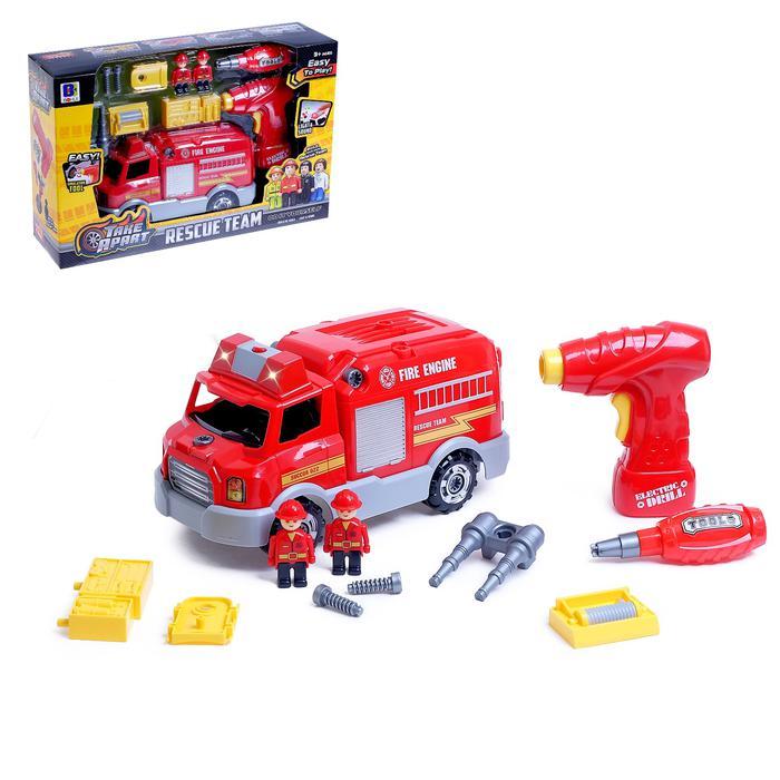 Конструктор винтовой «Пожарная машина», с эл. шуроповёртом - Размеры: шуруповёрт — 14,5 х 4 х 13,5 см; отвёртка — 12 х 4 х 3,5 см.