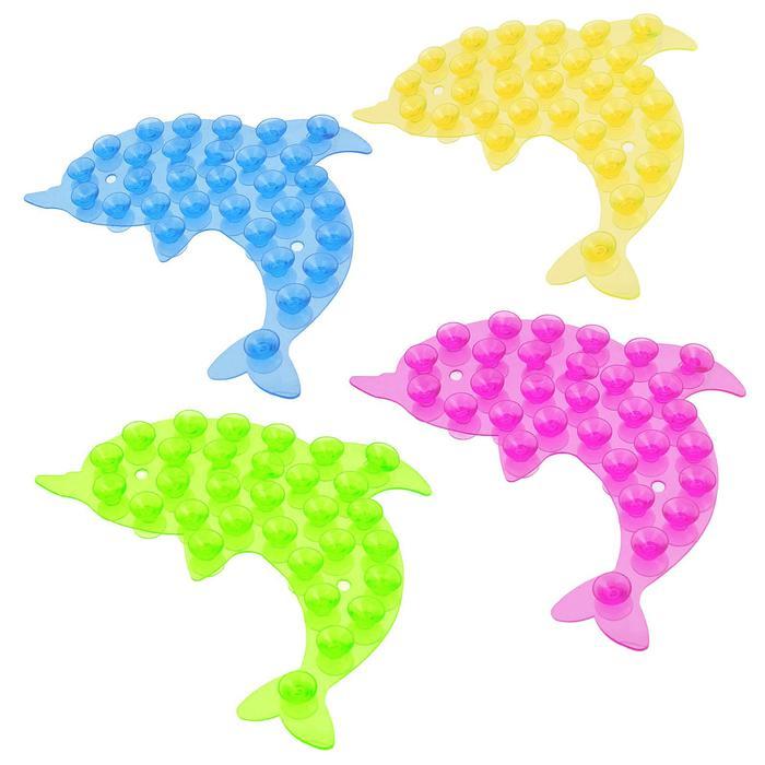 Мини-коврик для ванны «Дельфин» - цена за 1 шт, цвет в ассортименте, размер 11×12 см
