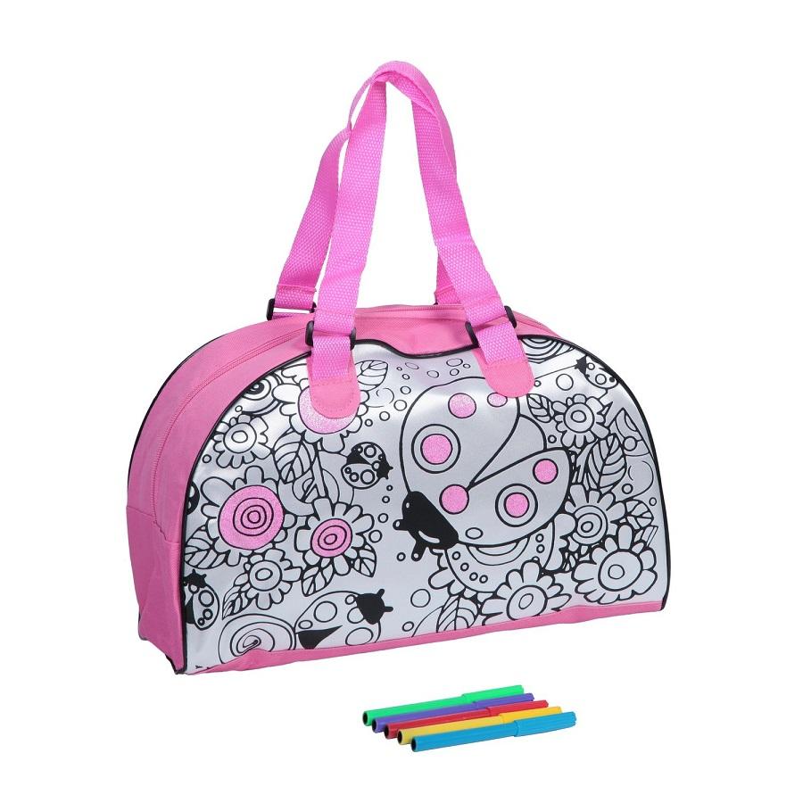 Сумка для раскрашивания большая - В наборе 5 специальных маркеров и сумочка размер 35х22 см.