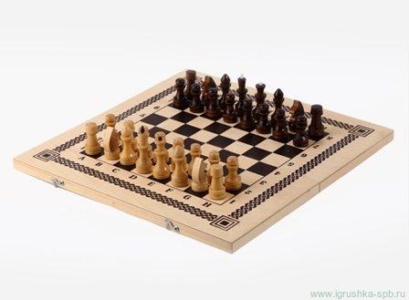 Шахматы, шашки  2 в 1 - Размер поля: 415*215*34 мм