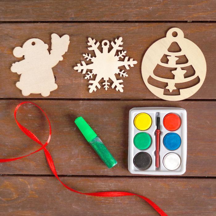 Ёлочные игрушки из дерева. Сделай сам - Дед Мороз, снежинка, ёлочка