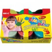 AMOS.22807 Краски пальчиковые наб. 6 цв. по 50 гр.
