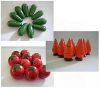 Счетный материал овощи морковка/помидор/огурец 10 шт.