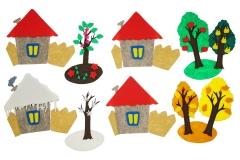 Четыре домика маленькие с игровым полем