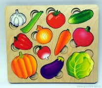 "Развивающая доска ""Овощи"" с разрезн. вкладышами внутри арт.8017"