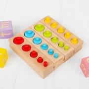 Развивающий набор цилиндров «Больше-меньше» цветные