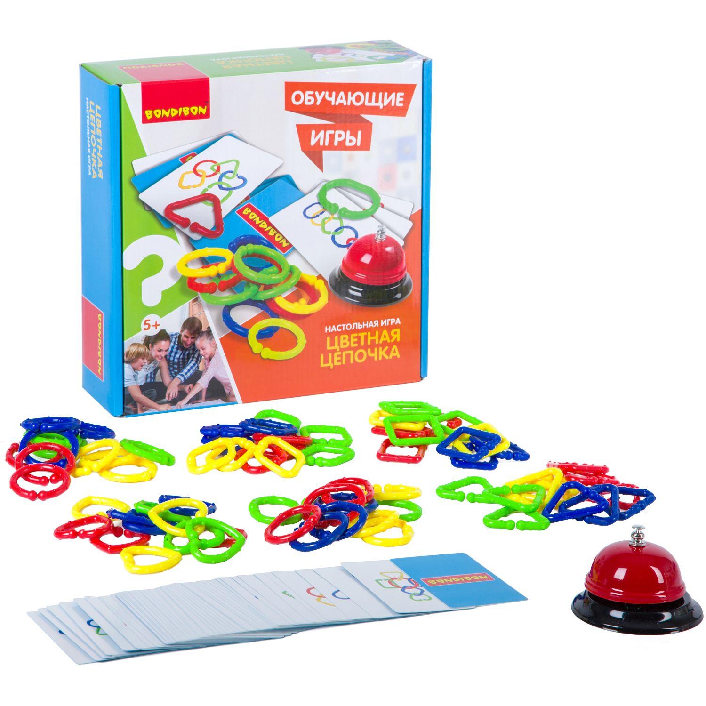 BONDIBON ВВ2417 Наст. игра «Цветная цепочка» - Игра на ловкость рук и остроту глаза. Способствует развитию зрительно-моторной координации движений, концентрации внимания и зрительного восприятия. Яркое и полезное развлечение для детей и всей семьи. Соберите кольца как можно быстрее в порядке указанном
