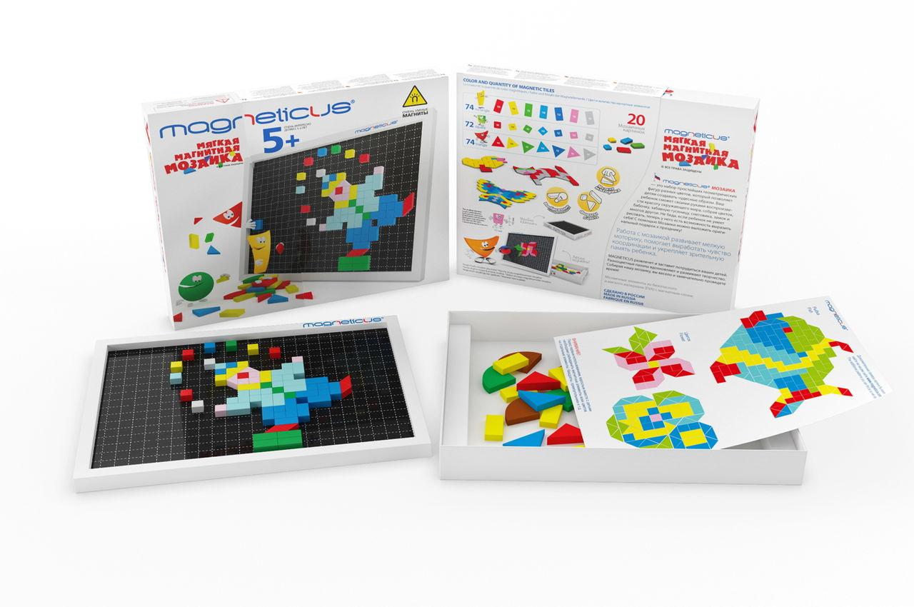 Magneticus.Мозаика 5+ 7 цветов - Состав набора: — 220 мягких магнитных элементов, — листок с примерами 20 картинок для сборки, — металлическое игровое поле, встроенное в коробку для хранения мозаики.