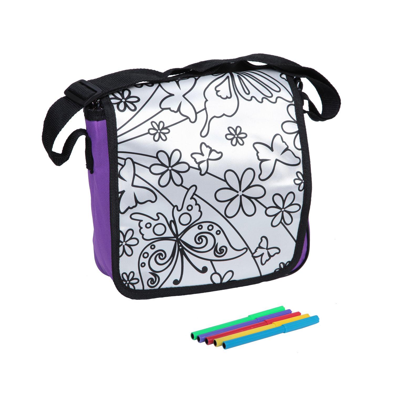 Сумка для раскрашивания почтальонка, 25х27х4 см - В наборе 5 специальных маркеров и сумочка размер 25х27 см.