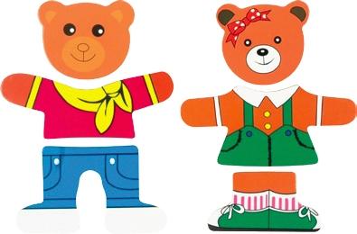 Два медведя - Рамка для двух медвежат, каждый их которых состоит из трех частей. Дополнительные части позволяют сложить медвежат в разных костюмах. Игра развивает мелкую моторику, логическое мышление, внимательность, сообразительность, знакомит малыша с разными эмоциям