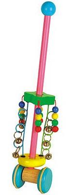 Каталка-бубенчики - Яркая разноцветная игрушка-каталка изготовлена из экологически чистой древесины.