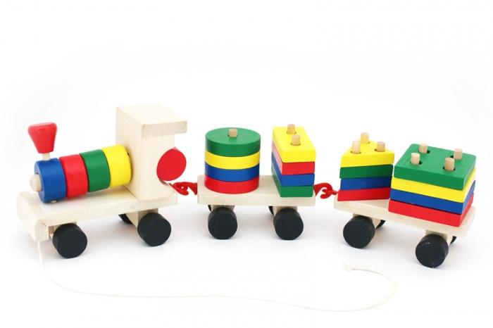 Паровозик малый (геометрические фигурки) - Игрушка два в одном. Паровозик и 5 пирамидок.