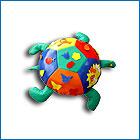 Дидактическая игрушка - черепаха - расочную мягкую черепаху можно использовать как игровое поле для познавательных игр, удобное сидение, спортивный тренажёр или просто как большую игрушку.   Детская мягкая дидактическая игрушка с оформлением игрового поля - черепаха. Размеры: D70*30см