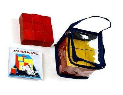 Уникуб в сумочке (дерево) - размер кубика 30х30х30 мм. Упаковка: сумочка ПВХ с застежкой-молией, размер упаковки 130х130х130 мм