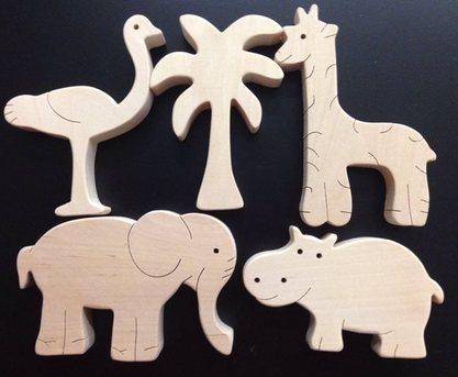 Набор Африка. TreeTone. - размер коробки 20*20 см. страус, пальма, жираф, слон, бегемот